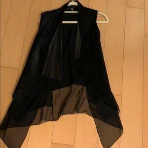 Elie Tahari leather and silk drapey vest